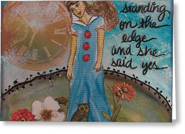 Standing On The Edge Of Destiny Greeting Card by Debbie Hornsby
