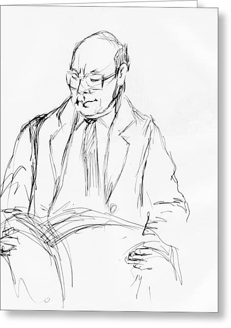 Standing Reading Commuter Greeting Card by Phil Welsher
