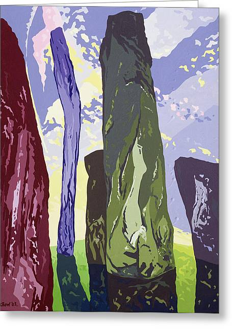 Standing Stones, Callanish, 2003 Gouache On Paper Greeting Card by Derek Crow