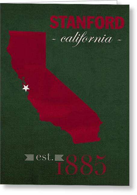 Stanford University Cardinal Stanford California College Town State Map Poster Series No 100 Greeting Card