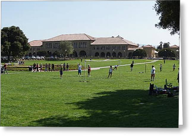 Stanford University Palo Alto California Hoover Tower Panorama From The Oval Dsc691 Greeting Card by Wingsdomain Art and Photography
