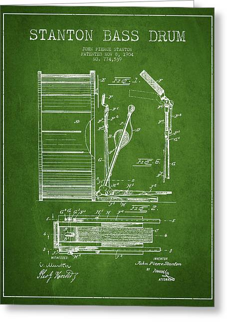 Stanton Bass Drum Patent Drawing From 1904 - Green Greeting Card by Aged Pixel