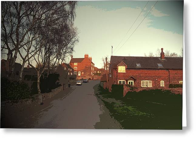 Stanton By Bridge Village Scene, Pictured Here At Dusk Greeting Card