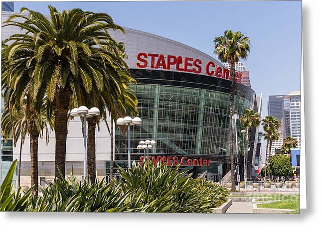 Staples Center In Los Angeles California Greeting Card by Paul Velgos