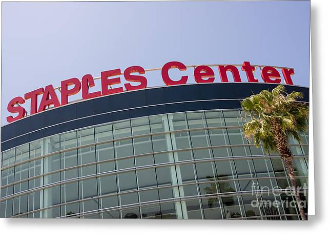 Staples Center Sign In Los Angeles California Greeting Card by Paul Velgos