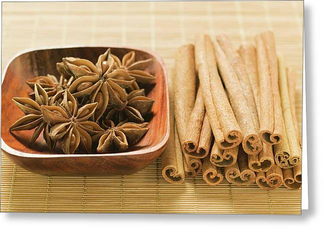 Star Anise In Wooden Bowl, Cinnamon Sticks Beside It Greeting Card
