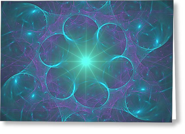 Greeting Card featuring the digital art Star Baubles by Ursula Freer