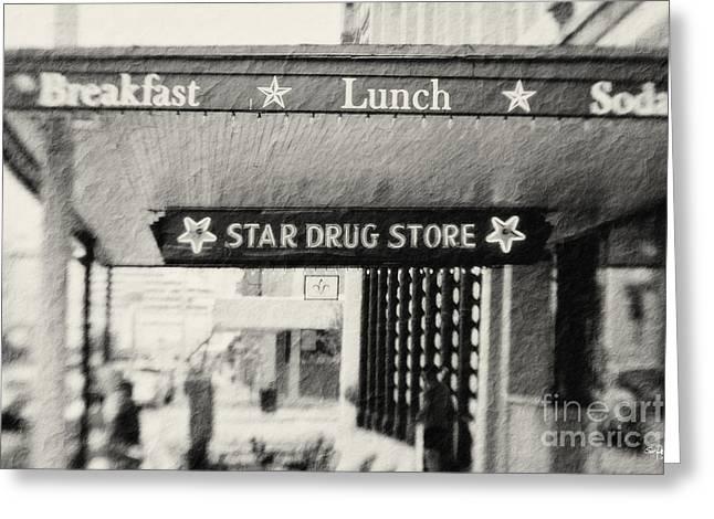 Star Drug Store Marquee Greeting Card by Scott Pellegrin