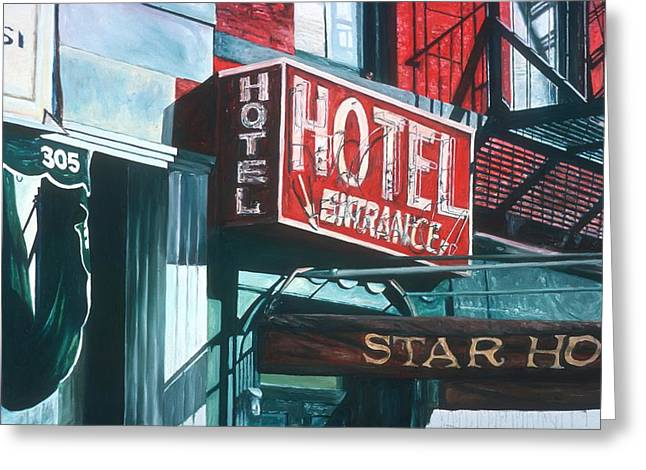 Star Hotel Greeting Card by Anthony Butera