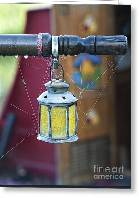 Star Lantern On Narrowboat Tiller Greeting Card by Tim Gainey