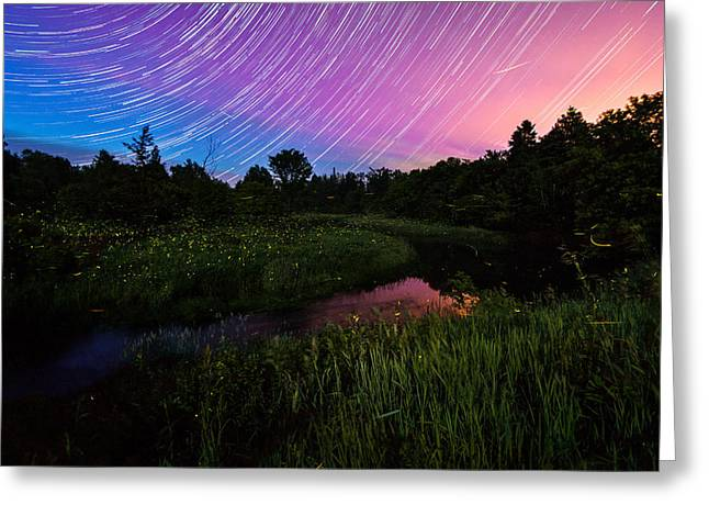 Star Lines And Fireflies Greeting Card