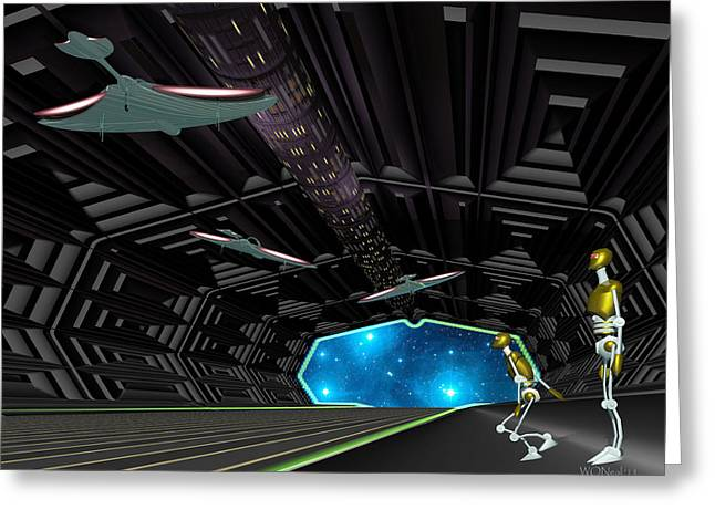Star Ship Chamber Landing Greeting Card by Walter Oliver Neal