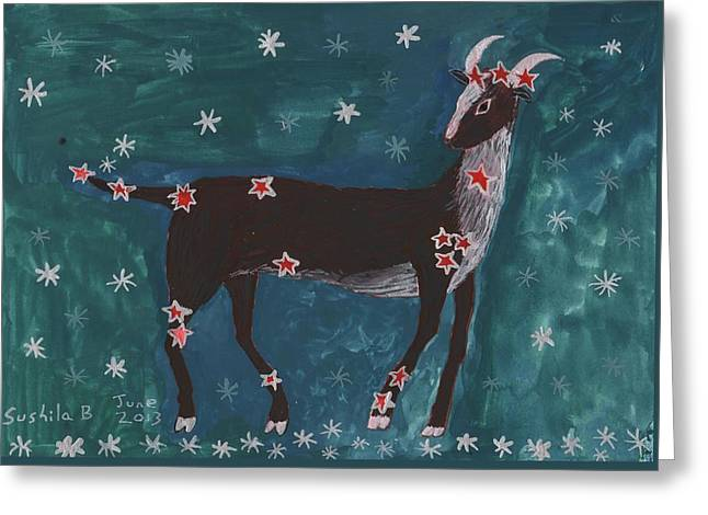 Star Sign Capricorn Greeting Card by Sushila Burgess