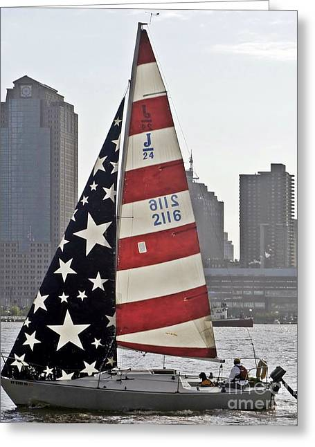 Greeting Card featuring the photograph Star Spangled Sail  by Lilliana Mendez