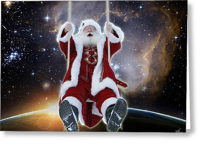 Santa's Star Swing Greeting Card