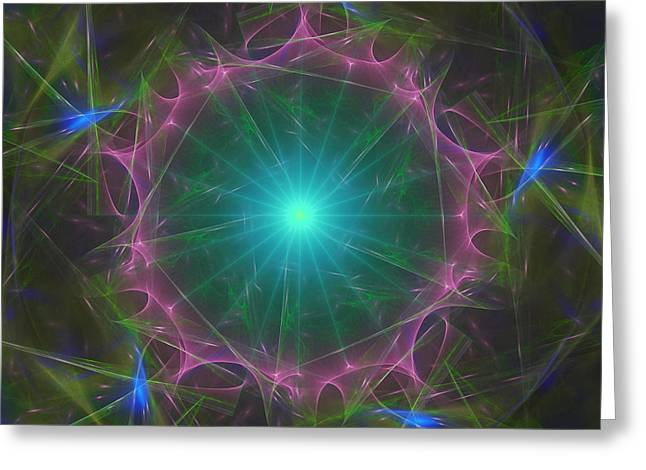 Greeting Card featuring the digital art Star System 7 by Ursula Freer