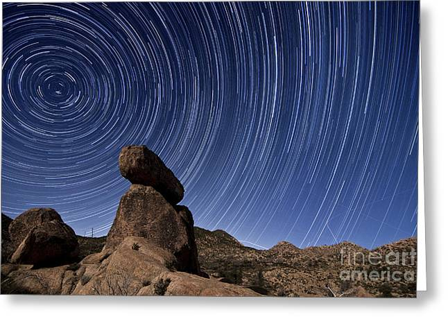 Star Trails Above A Granite Rock Greeting Card
