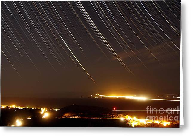 Star Trails Above A Village Greeting Card by Amin Jamshidi