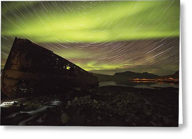 Star Trails And Northern Lights Greeting Card by Robert Postma