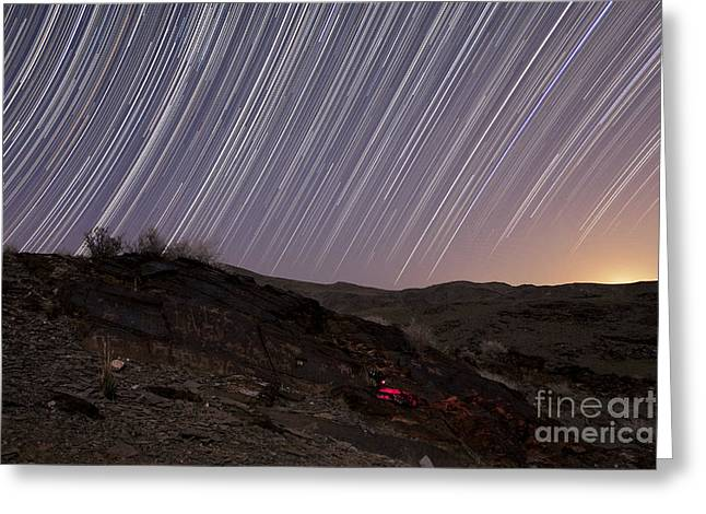 Star Trails And Rock Art In The Central Greeting Card by Amin Jamshidi