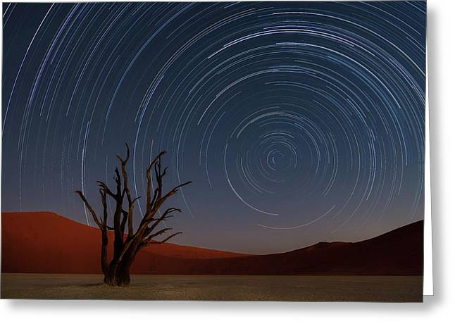 Star Trails Of Namibia Greeting Card