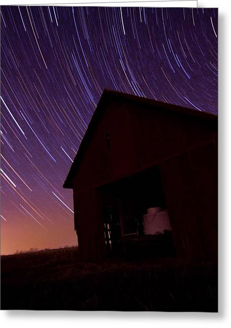 Star Trails On The Farm Greeting Card by Dan Sproul