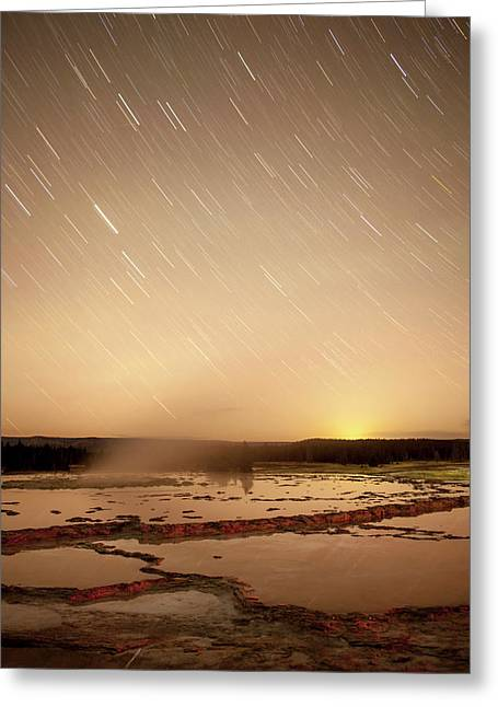 Star Trails Over Active Geyser Greeting Card by Tom Norring
