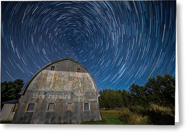 Star Trails Over Barn Greeting Card by Paul Freidlund