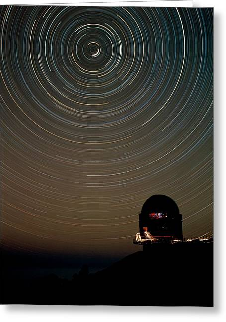 Star Trails Over Dome Of Nordic Optical Telescope Greeting Card by David Parker/science Photo Library