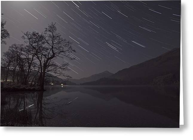 Star Trails Over Lake Greeting Card