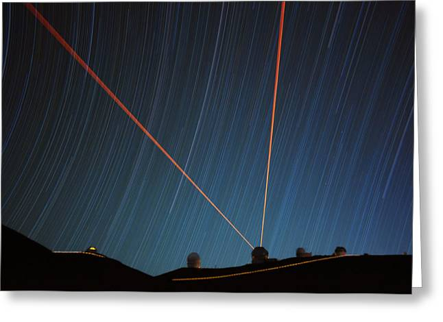 Star Trails Over Mauna Kea Observatory Greeting Card