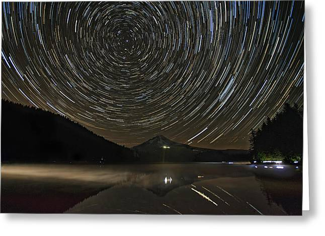 Star Trails Over Mount Hood At Trillium Lake Greeting Card