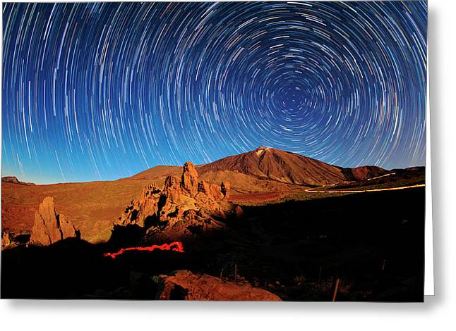 Star Trails Over Mount Teide Greeting Card