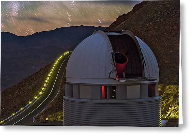 Star Trails Over Observatory Greeting Card by Babak Tafreshi