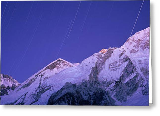 Star Trails Over Snowcapped Nuptse Greeting Card by Panoramic Images