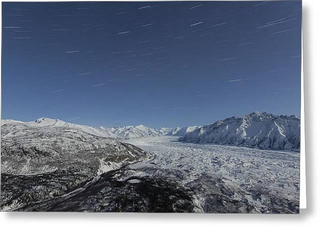 Star Trails Over The Matanuska Glacier Greeting Card