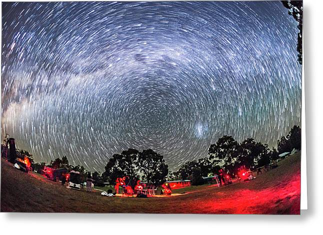 Star Trails Over The Ozsky Star Party Greeting Card