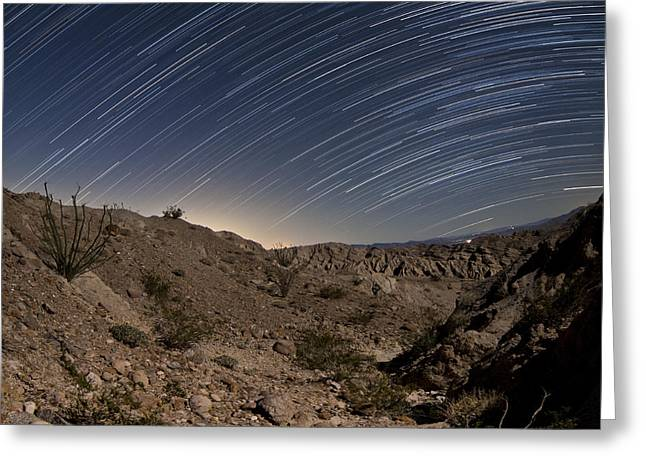 Star Trails Over The Rugged Canyon Greeting Card by Dan Barr