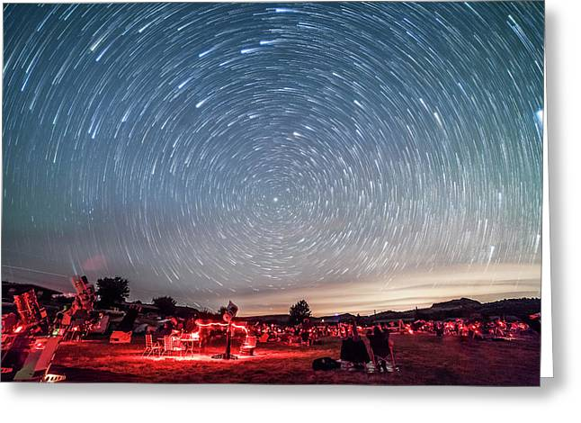 Star Trails Over The Texas Star Party Greeting Card