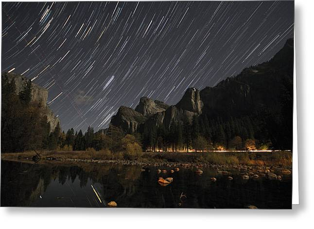 Star Trails Over Yosemite Greeting Card