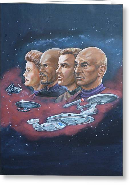 Greeting Card featuring the painting Star Trek Tribute Captains by Bryan Bustard