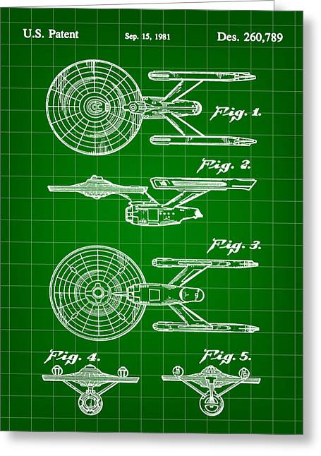 Star Trek Uss Enterprise Toy Patent 1981 - Green Greeting Card by Stephen Younts