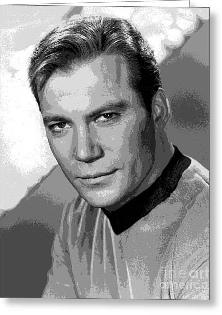 Star Trek William Shatner Pre 1970 Greeting Card by R Muirhead Art