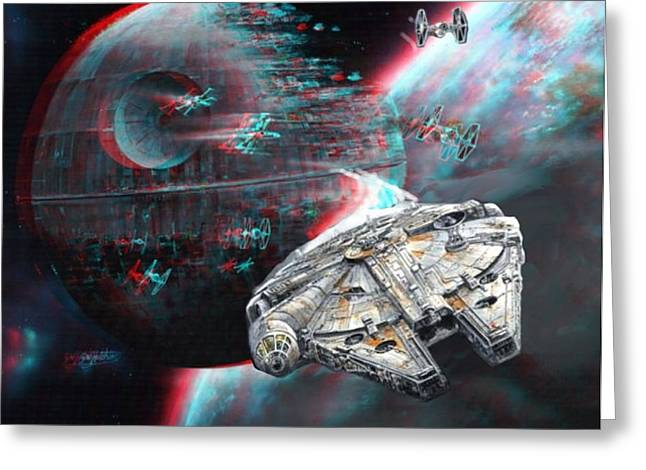 Star Wars 3d Millennium Falcon Greeting Card by Paul Van Scott