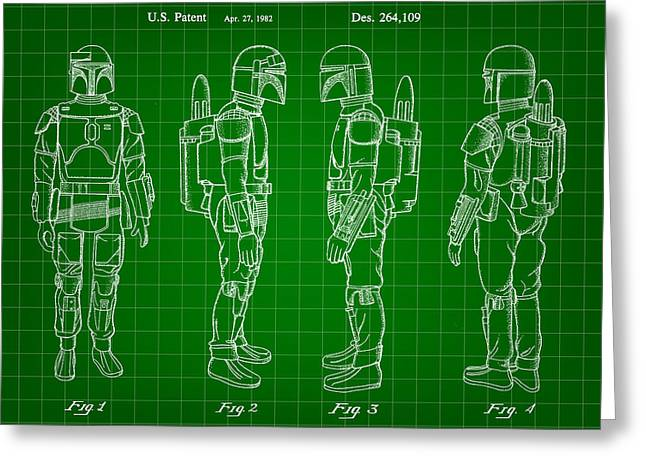 Star Wars Boba Fett Patent 1982 - Green Greeting Card by Stephen Younts