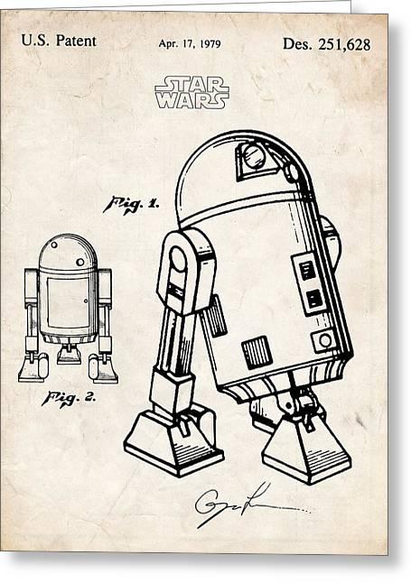 Star Wars R2d2 Robot Droid Patent Art Greeting Card