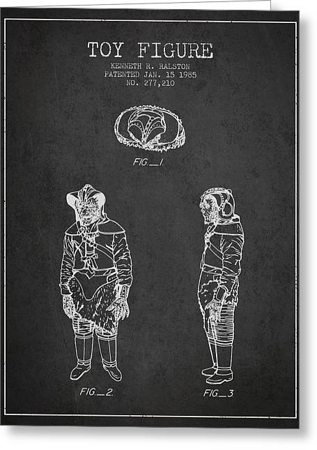 Star Wars Toy Figure No3 Patent Drawing From 1985 - Charcoal Greeting Card