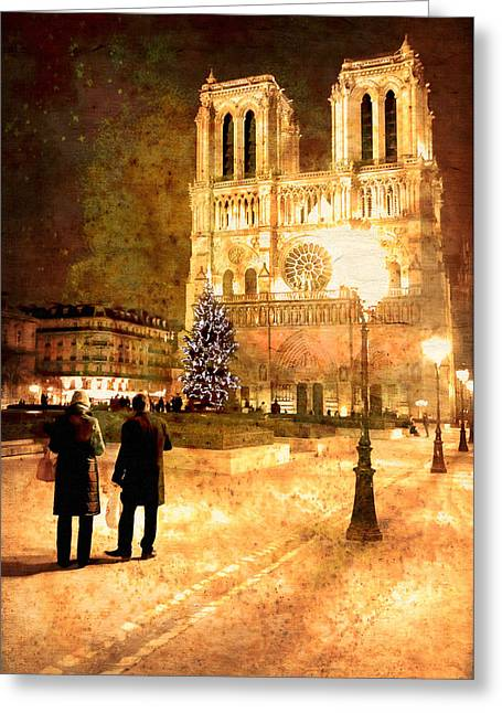 Stardust Over Notre Dame De Paris Cathedral Greeting Card by Mark E Tisdale