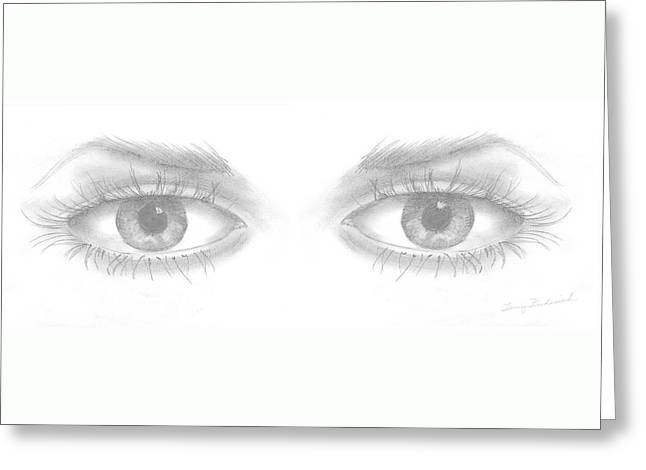 Greeting Card featuring the drawing Stare by Terry Frederick