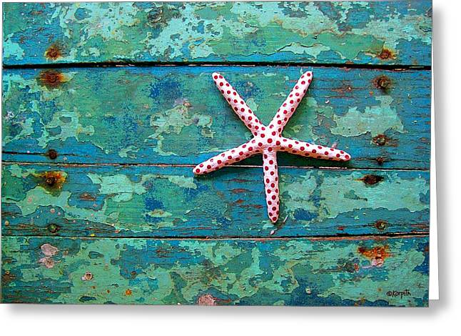 Seashore Peeling Paint - Starfish And Turquoise Greeting Card by Rebecca Korpita